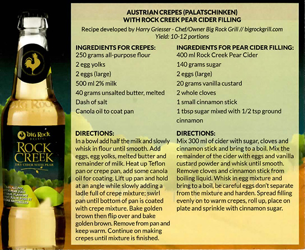 Austrian Crepes with Rock Creek Pear Cider Filling